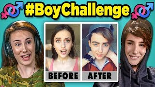 Adults React to #BoyChallenge - Girls Turn Into Boys (Musical.ly/TikTok Compilation)