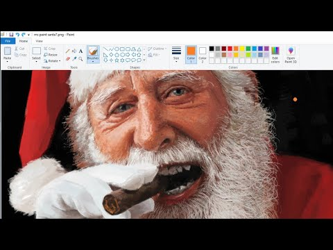 Drawing a Fairly Realistic Santa Claus in MS Paint
