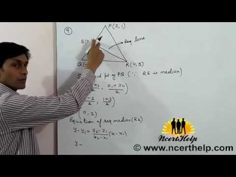 Vertices of ∆ PQR are P, Q and R Find equation of median through vertex R