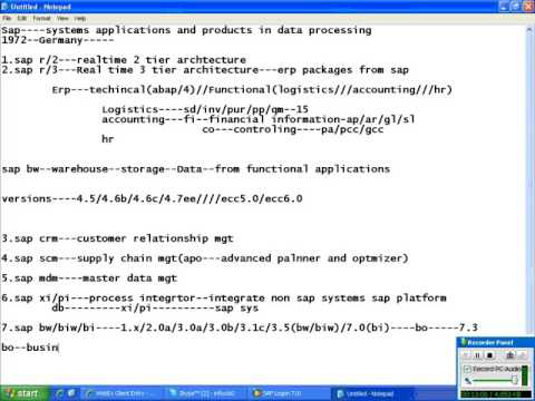 SAP BW 3.5 DATA MODELLING CLASS 1