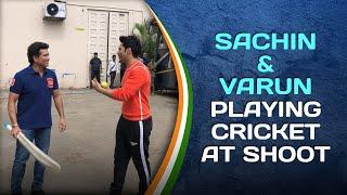 Sachin Tendulkar & Varun Dhawan play Cricket at a shoot   #SportPlayingNation