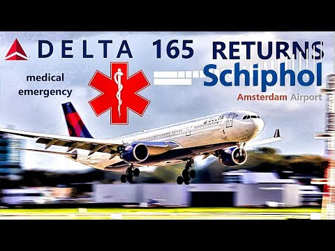 Medical Emergency DELTA 165 returns to Schiphol airport. [inc. ATC]