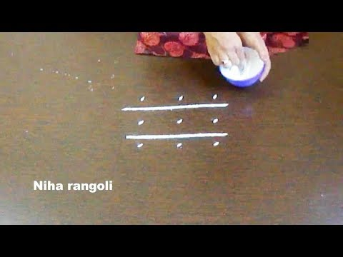 Very small easy rangoli with 3x3 dots * Simple kolam with dots * Easy rangoli for learners by niha