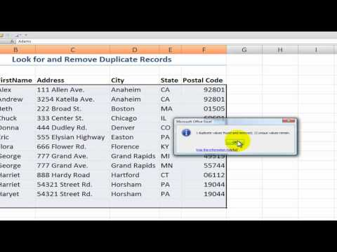 How to Find & Remove Duplicate Records in Excel 2007