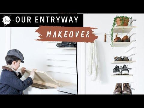 Entryway Bench + DIY Shoe Rack | Mudroom Makeover | Easy | Organization