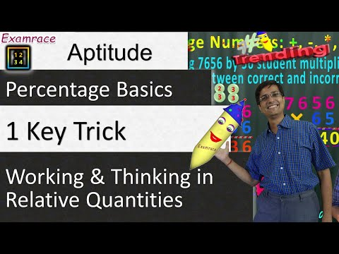 Percentage Basics - 1 Key Trick (for Aptitude): Working and Thinking in Relative Quantities