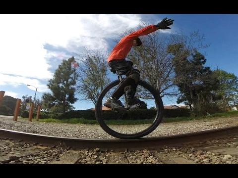 Riding Railroad tracks... on 36er Unicycle!