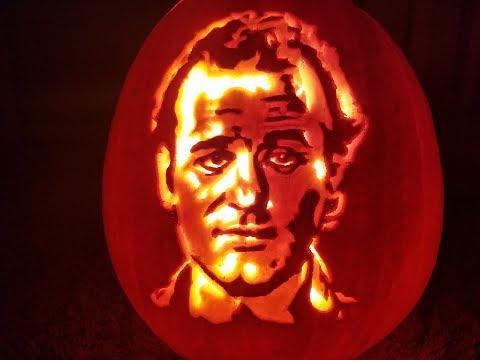 Speed Pumpkin Carving - Bill Murray Portrait
