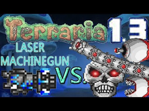 Terraria 1.3 Weapons VS. Expert Bosses: LASER MACHINE GUN VS. ALL 3 MECH BOSSES!