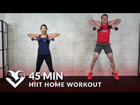 45 Minute HIIT Home Workout with Weights - Total Body 45 Min HIIT Workout with Dumbbells