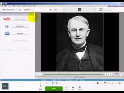 Use Picasa to create/save a movie as a WMV file
