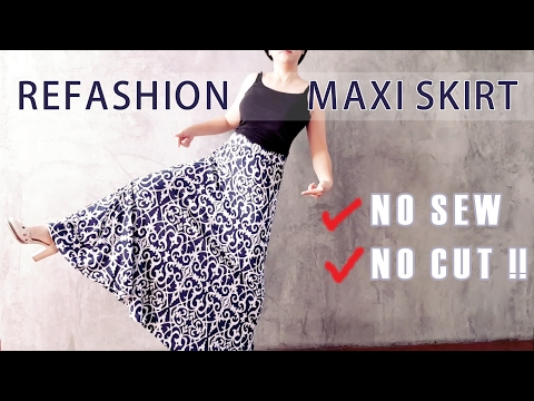 No Sew No Cut  Maxi Skirt to Dress and Top Refashion DIY