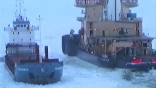 M/S Rautaruukki being assisted by icebreakers Oden and Otso
