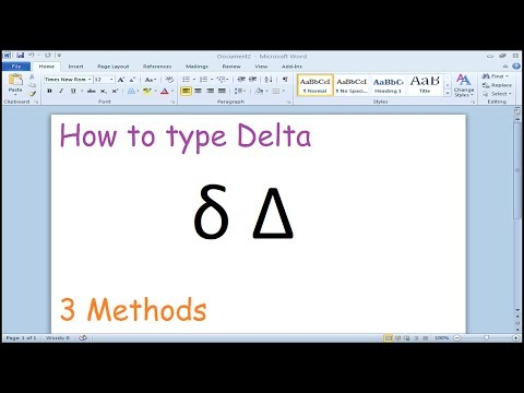 How to type Delta Symbol in Microsoft Word