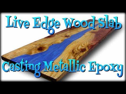 Live Edge Wood Slab, Casting with Metallic Epoxy.