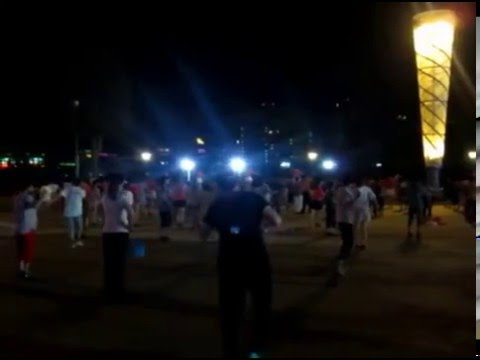 Watched popular public square dancing at night in China summer 2015