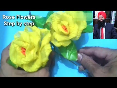 👍✔How to make organdy || rose ||cloth flower || step by step by hand
