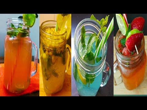 शरीर की गर्मी को भगाने के लिये 4अनोखे  नींबू के शरबत|Refreshing Pudina Sharbat Lemonade Indian Style