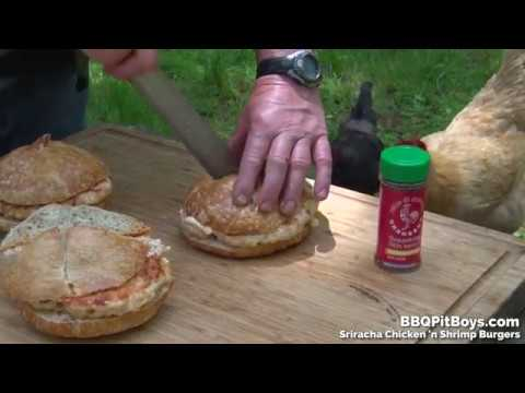 Sriracha Shrimp n Chicken Burgers in Two Minutes