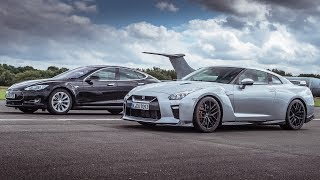 Tesla Model S P90D vs Nissan GT-R - Top Gear: Drag Races