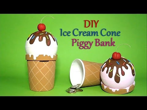 DIY Ice Cream Cone Piggy Bank   Recycled Craft Ideas For Kids   Recycle Ice Cream Container