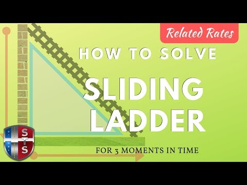 Calculus - Related Rates - Sliding Ladder Analytics w/ 3 Snapshots