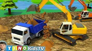 Excavator for Kids Boating Lake Construction | Trucks Uses for Children