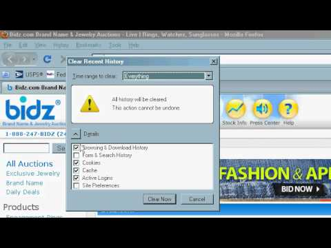Delete cookies & temporary internet files in Mozilla Firefox