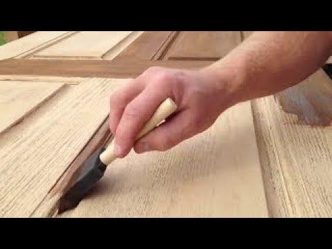 Refinishing a fiberglass entry door.