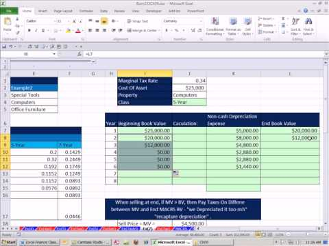 Excel Finance Class 85: MACRS Depreciation & Asset Sale Impacts on NPV Cash Flows