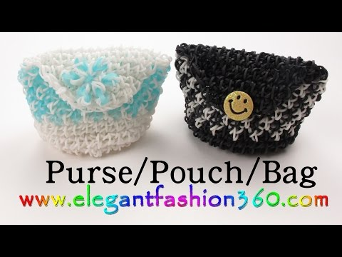 Rainbow Loom Purse/Pouch/Bags - How to Loom Bands tutorial