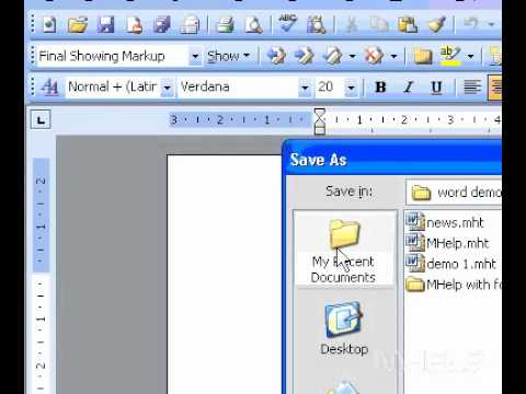 Microsoft Office Word 2003 Save a new document
