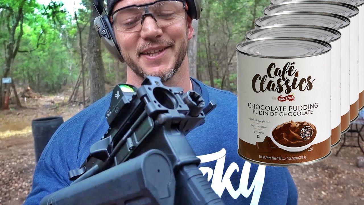 BIG Man Shoots Weird Guns at GALLONS of Pudding...