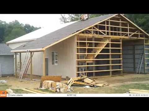 Pole Barn Build 5 - Roof Tin, Stairs, Doors and Final Trim Time-Lapse