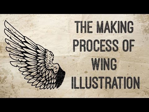 Speed art process drawing wing in adobe illustrator
