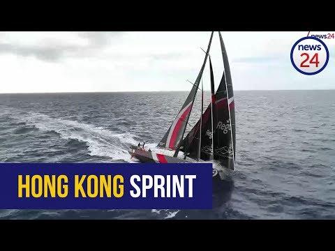 Team Scallywag lead sprint for Hong Kong in Volvo Ocean Race