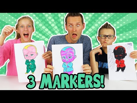 3 MARKER CHALLENGE w/ our DAD!!!