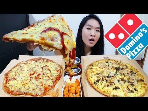 DOMINO'S PIZZA! Creamy Chicken & Pepperoni Cheese Burst Crust, Chocolate Cake | Eating Show Mukbang