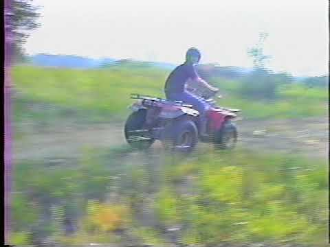 Doing wicked sweet jumps on a 1986 Yamaha YFM225 Moto-4 Four-Wheeler