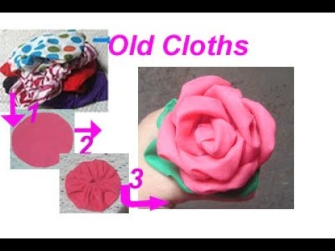 पुराने कपड़ों से बनाए Cotton fabric rose/flower with cloth/recycle waste cloth