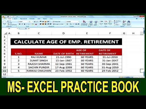 Exercise 90 How To Calculate Employee Retirement Age In Ms Excel