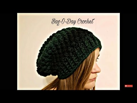 CROCHET How To #Crochet Ladies or Mens Unisex Puffed Slouchy Hat Beanie TUTORIAL #357 LEARN CROCHET