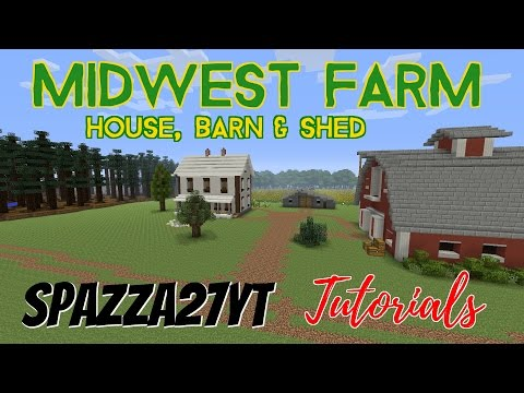 Midwest Farm House, Barn & Shed Minecraft Tutorial