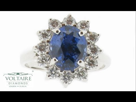 Blue Sapphire Engagement Ring Cluster Style - ER 1035