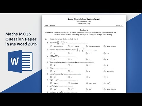how to create Multiple choice question paper for mathematics in Ms word 2019