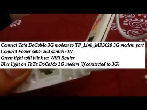 WiFi Router Setup TP Link MR3020 and Connect to multiple devices TaTa DoCoMO 3G Modem