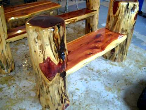 Rustic Log Benches! Making frontier furniture in backyard.