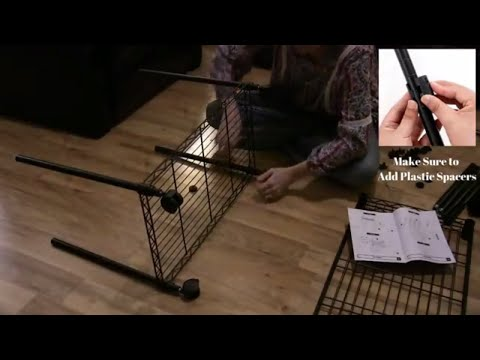 How to assemble 3-Tier Wire Shelf Rolling Storage Rack - SONGMICS