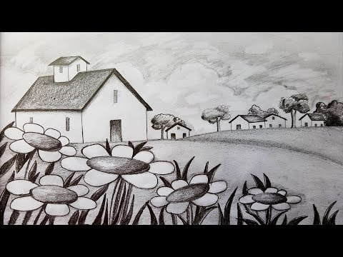 How to draw Scenery / Landscape by pencil sketch.Step by step(easy draw)