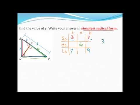 Using similar overlapping right triangles (with simplified radical form)